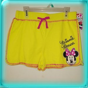 Minnie Mouse yellow jersey shorts Disney NWT